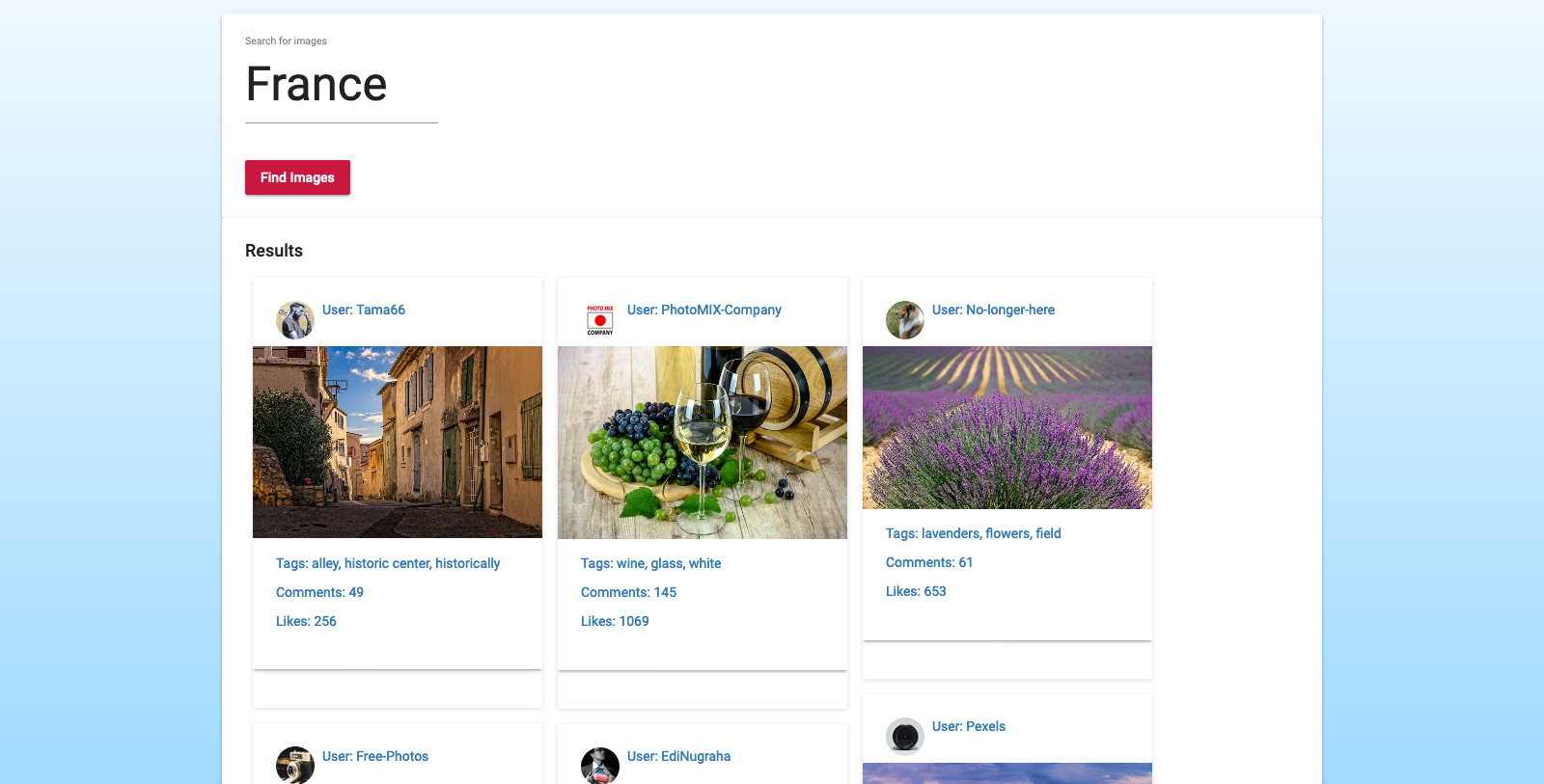 Landing page of Image Search App