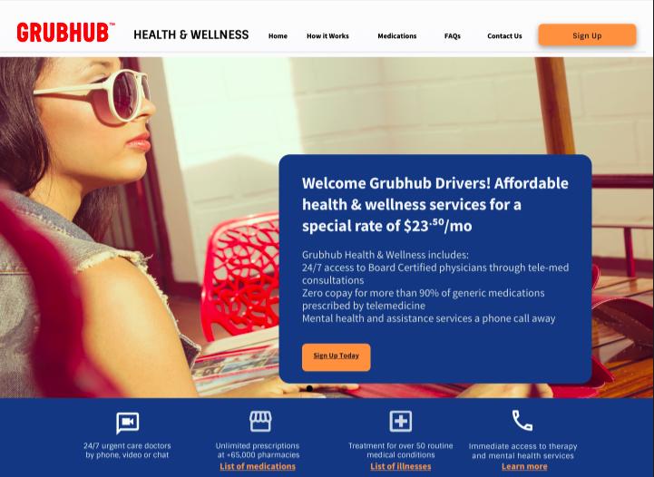Grubhub Desktop home page view