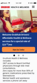 Grubhub mobile homepage view